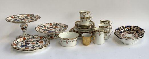 Balmoral China tea set; together with two Coalport Imari tazza, two further cake lates etc