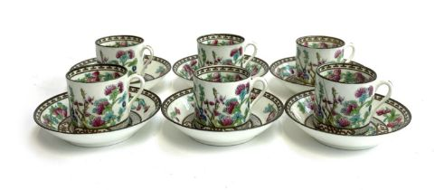 A set of six Cauldon coffee cans and saucers
