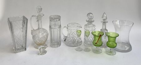 A mixed lot of glass to include a Tiffany & Co. cut glass decanter, personalised engraving, with
