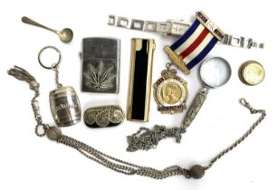 A mixed lot of interesting things to include white metal lidded pot; silver masonic medal; white met