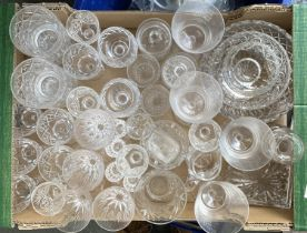 A mixed lot of cut glassware, to include various wine, port and sherry glasses, jam pots, fruit