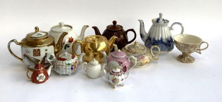 A mixed lot of various teapots, to include St. Petersberg Russia export teapot, Royal Worcester gilt
