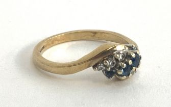 A 9ct gold sapphire and diamond ring, size O, approx. 3.4g