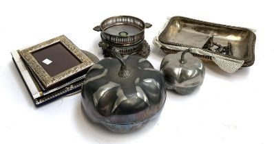 A mixed lot of plated wares to include lidded entre dishes; a pair of wine coasters; various photo
