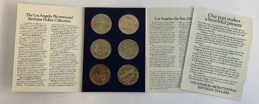 A set of six Los Angeles Bicentennial Birthday Dollars