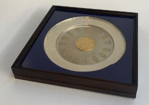 A silver and silver gilt commemorative plate 'The College of Arms, The Queen's Silver Jubilee 1952-