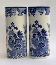 A matched pair of Mason's Ironstone Willow pattern cylindrical vases, each 31cmH