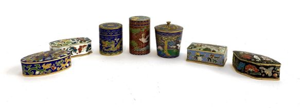 A collection of seven Chinese brass and enamel cloisonne trinket pots