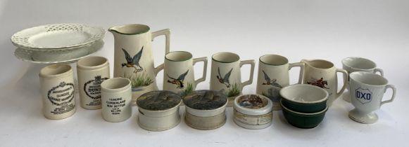 A mixed lot of ceramics to include three Prattware style pots; Dulcie Vaughan ceramics; pierced
