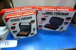 2 x large George Foreman grills, model 23440 and 1 x medium George Foreman grill, model 25041 -