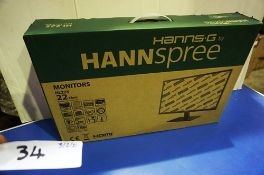 """A Hannspree 22"""" monitor, model HSG1283+ - Sealed new in box (ES3)"""