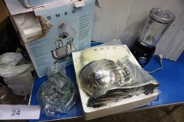1 x Smeg kitchen stand mixer, colour cream and silver, model SMF02CRUK, new in tatty box, together