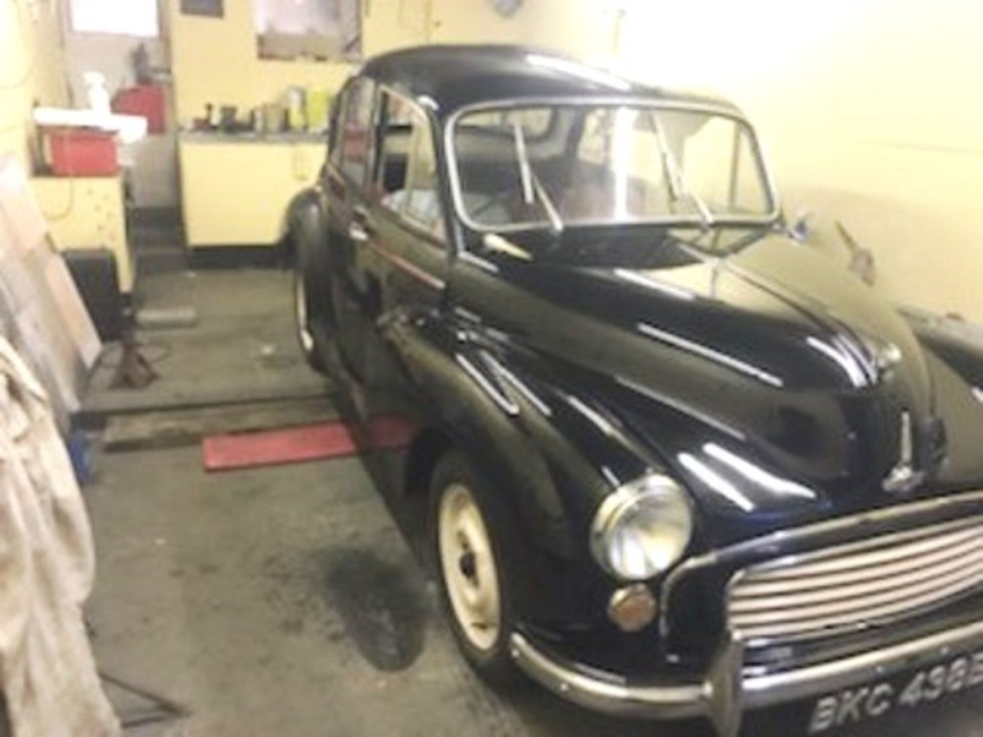 1964 Morris Minor 1000 in original black. The car has been restored with new flooring and vinyl