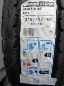 1 x Bridgestone Duravis R630 109/107S tyre, size 215/70R 15L - New with label (GS2)