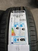 1 x Continental Eco contact 6Q tyre, size 215/50R18 92V - New with label (GS1)
