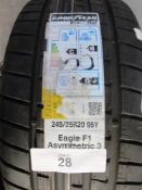 1 x Goodyear Run On flat Eagle F1 Asymmetric 3 tyre, size 245/35R20 95Y - New with label (GS2)