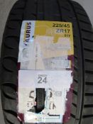 A pair of Taurus UHP tyres, size 225/45ZR17 91Y - New with label (GS1)