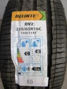 1 x Delinte DV2 115/1137 tyre, size 235/65R16C fitted on pressed steel 6 stud rim - New with