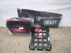 1 x Sealey mechanics mat set, 1 x Milwaukee 50cm tote tool bag and 1 x Milwaukee pack-out mounting
