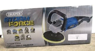 Draper Storm Force 1200W, 230V angle polisher, 180mm disc - Sealed new in box (TC3)