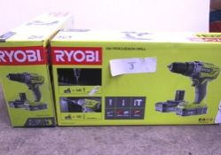 2 x Ryobi 18V percussion cordless drill sets each comprising 1 x drill, 2 x 1.5Ah batteries and 1