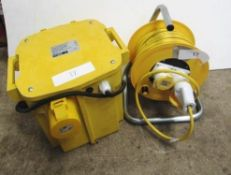A 110V single phase 2500VA ballast with 2 x 16 amp output and 1 x 32 amp output, model PT5000-3,
