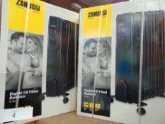 2 x Zanussi 9 Fin 2kw digital oil filled radiators, model Z0FR5OO3 - New (ES1)