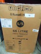 1 x Russell Hobbs 66ltr stainless steel effect mini fridge, model RHTTF67SS - New (ES1)