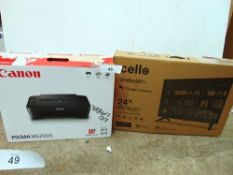 "1 x Canon Pixma MG2550S together with a Cello 24"" Android TV, model C2420G - New (ES2)"