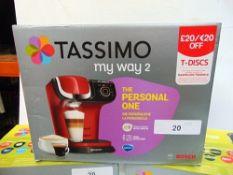 3 x Tassimo coffee machines comprising 2 x model TAS1402GB and 1 x model TAS6503GB - New (ES2)