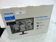 """1 x Philips V Line 22"""" monitor, model 223V5L together with an Acer 24"""" monitor, model KA240H -"""