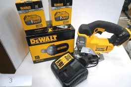 1 x DeWalt cordless jigsaw, model DCS331, second-hand, together with 2 x 18V batteries and