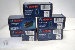 5 x Bosch GBA 12V 2.0Ah batteries, model 1600Z0002X, RRP £29.00 each - Sealed new in box (TC3)