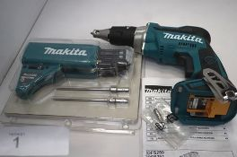 1 x Makita cordless screwdriver, body only, model DFS250, together with 1 x Makita collated screw