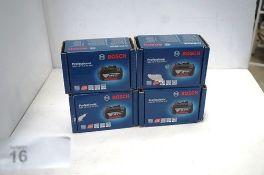 4 x Bosch GBA 18V 5.0Ah M-C batteries, model 1600A002U5, RRP £40.00 each (TC3)