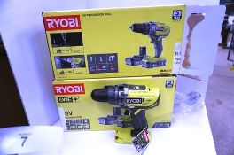 2 x Ryobi 18V percussion cordless drill sets, body only, no battery or charger (TC3)