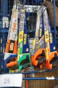 10 x Irwin handsaws including Universal Plus 880, Coarse Plus 770, together with 1 x Bahco 244+