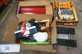 A selection of hand tools including 1 x metal toolbox, plastic tool holders, Infapower work