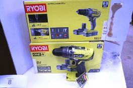 3 x Ryobi 18V percussion cordless drill sets, body only, no battery or charger (TC3)