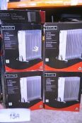4 x 11 Fin Stylec oil radiators, 2500W, model 574837, comprising 1 x new in box, box open,