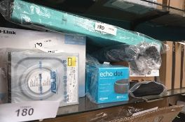 A selection of electrical items including 2 x Echo Dots, 2 x Poly Blackwire 5220 headphones,