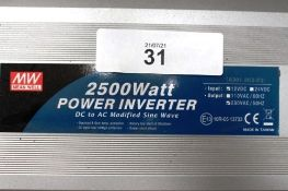 1 x Mean Well 2500W AC/DC power inverter, model A301-2-K5-F3, 230 VAC, 12 VDC - New in box (ES5end)
