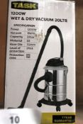 1 x Task 1200W 20ltr wet & dry vacuum, 240V - New in box (ES5end)