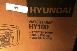 1 x Hyundai petrol water pump, model HY100, 13HP, 1250ltr/min 389cc - New in box (ES5end)
