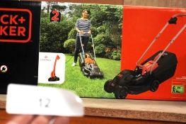 1 x Black & Decker 1000W 32cm rotary mower plus strimmer - Sealed new in box (ES5end)