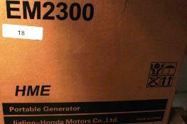 1 x HME portable generator, model EM2300, 2.3kw, 50Hz, 115/230V, Y.O.M. 2019 - New in box (ES5end)
