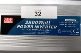 1 x Mean Well 2500W AC/DC power inverter, model A301-2K5-F6, 230 VAC, 12 VDC - New in box (ES5end)