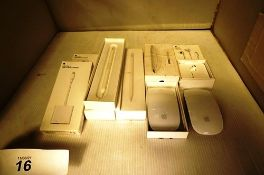 8 x Apple products including A2051 pencils, A1748 Ear Pods, A1619 USB camera adapters, all new,