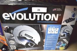 1 x Evolution Steel 335mm steel chop saw, model S355CPS, 110V with manual and in original box -