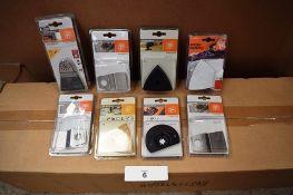 8 x assorted Fein oscillating multi tool accessories including triangular carbide rasp etc. - New in